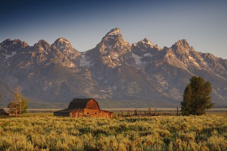 Famous barn on Mormon row in the Teton National Park photo