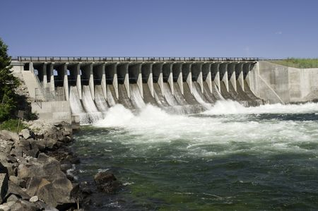 Dam across a river in Wyoming, conserving natural resources