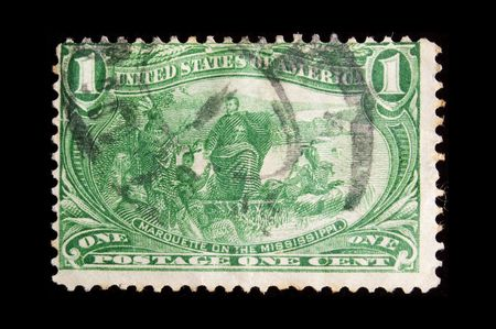 marquette: UNITED STATES - CIRCA 1898: Image depicting Father Marquette and indians, with inscription Marquette on the Mississippi, and a face value of one cent, series circa 1898 Stock Photo