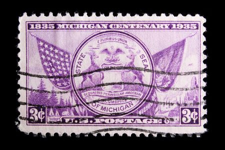 centenary: UNITED STATES - CIRCA 1935: Image depicting MICHIGAN State seal, with  inscription 1835 Michigan Centenary 1935 and State Seal of Michigan ,with a face value of 3 cents, circa 1935