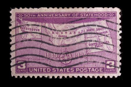 statehood: UNITED STATES- CIRCA 1939: Depicting Map of states, with inscription 50th Anniversary of Statehood and 1889-1939, color magenta, face value 3 cents, circa 1939