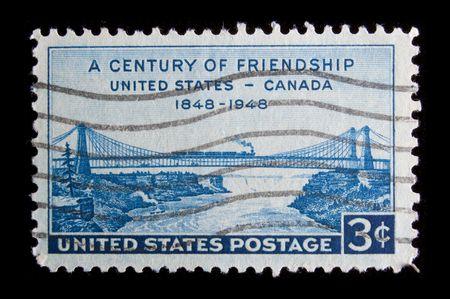 canada stamp: UNITED STATES - CIRCA 1948: Depicting bridge, inscripted  Stock Photo