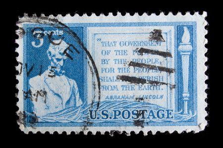 perish: UNITED STATES - CIRCA 1948 : depicting Lincoln, in-scripted