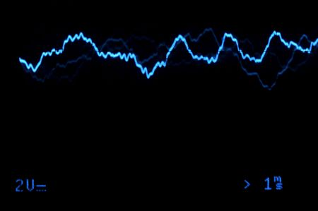 Blue Oscilloscope trace to music