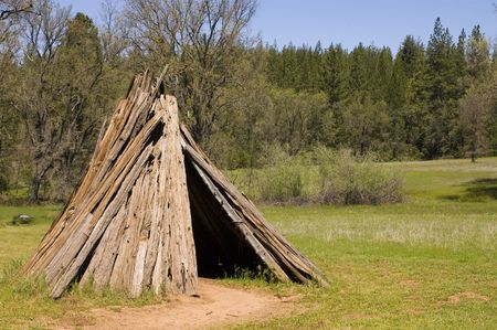 the dwelling: Umacha or dwelling of the northern Miwok tribe near Volcano in  California