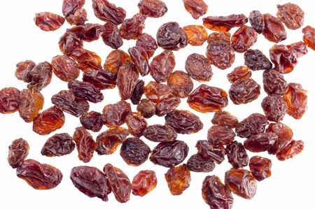 Dried Californian Raisins isolated on white