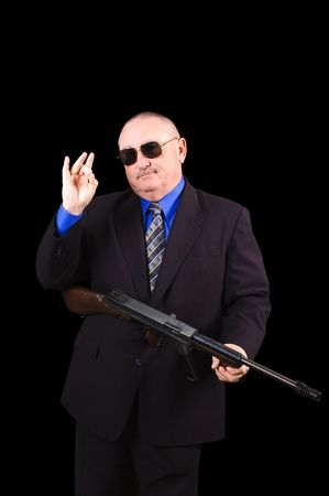 fbi: Agent gangster ou de gouvernement, agent du FBI, sur un fond noir  Banque d'images