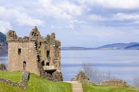 loch ness: Urquhart Castle on Loch Ness in Scotland the home of the clan Grant, and the place of the most sightings of