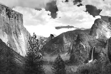 Yosemite Valley in black and white ala Ansel Adams photo