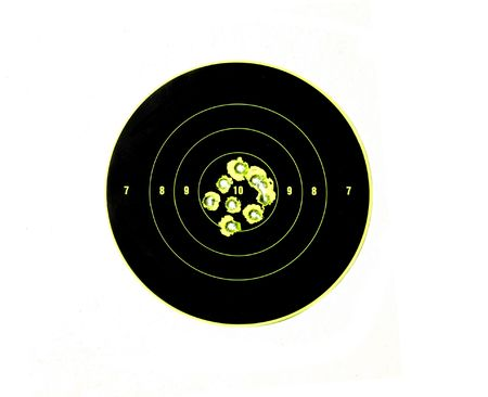demonstrating: bullet holes in targets displaying precision shooting and demonstrating accuracy of firearm