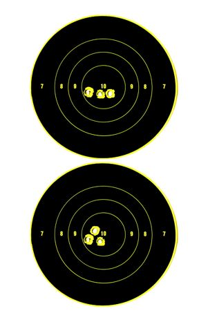 two targets with three bullet holes in each demonstrating accuracy 写真素材