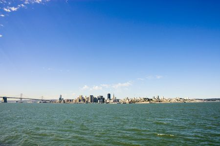 San francisco skyline from treasure island with space for copy photo