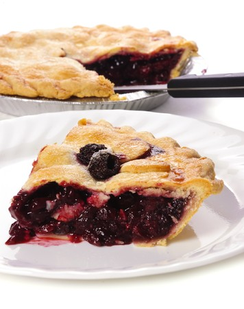 slice of tasty homemade cherry pie on a white background photo