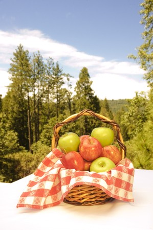 apples in a basket in an outdoor setting photo