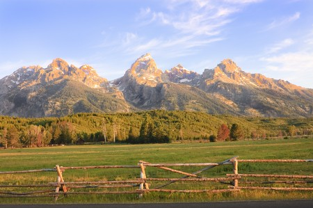 sunrise in the Grand Tetons National park, Wyoming, USA