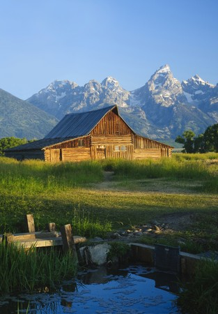 Iconic Mormon barn in the Teoton National park, Wyoming photo
