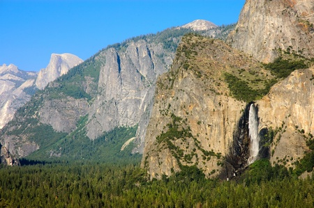 Yosemite valley in summer with Bridalviel falls in full flow photo