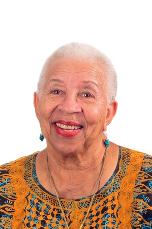 Elderly African American woman smiling from a pleasant surprise Stock Photo