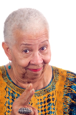 lecturing: Elderly African American woman lecturing pointing fingers at the camera