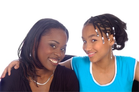 Smiling African American Mother and daughter Stock Photo