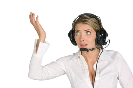 female pilot or air traffic controller screaming over a white background