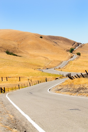 curve road: long winding road in northern Californias coastal hills