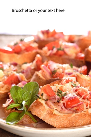 closeup of a plate of Bruschetta with space above for your text