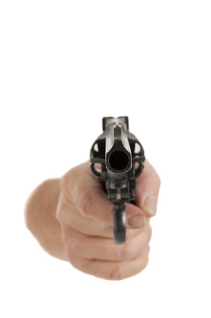 barrel pistol: handgun cocked in a hand isolated on white