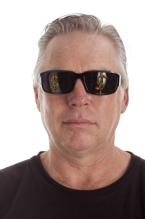 Man in sunglasses with dollar signs painted on the glass, isolated over white