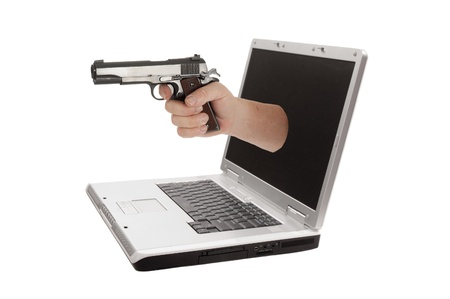 Laptop computer isolated on a white background photo