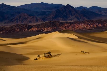 sunrise in Death Valley on Mesquite Dunes photo