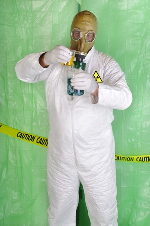 protective: chemical engineer, or biological scientist handling hazardous material in clean room environment