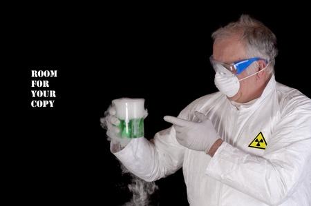 chemical engineer, or biological scientist handling hazardous material in clean room environment photo
