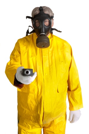 radiation pollution: man in gas mask and hazmat suit Stock Photo