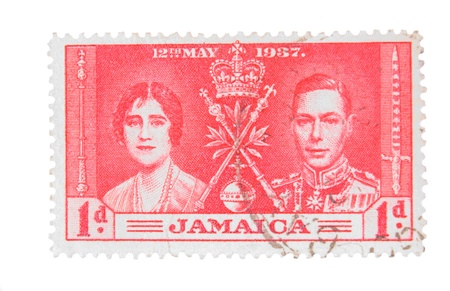 canada stamp: Canada - Circa 1937 : A vintage Jamaican postage stamp image of King George and Queen value of 1 penny, series circa 1937 Stock Photo