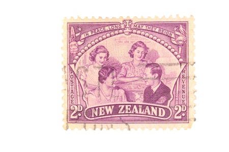 Canada - Circa 1948 : A vintage New Zealand postage stamp image of King George, Queen, Princesses Elizabeth and Margaret value of 2 pence, series circa 1948