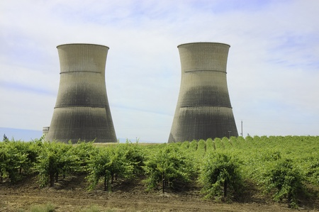 nuclear power plant: cooling towers of a now defunct nuclear power plant