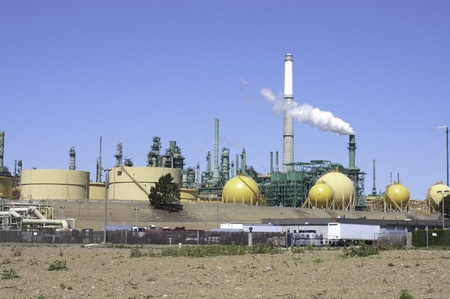 unsustainable: view of a oil refinery in northern California