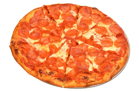 Pepperoni pizza isolated on a white background photo