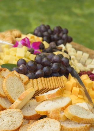 bread, cheese, crakers and fruit as appetizers at a barbeque Archivio Fotografico