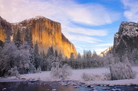 Yosemite valley in California during winter photo
