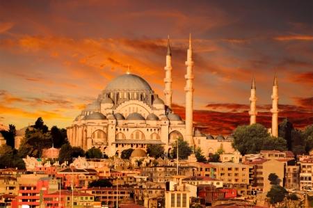 mezquita: Hagia Sophia en Estambul al atardecer