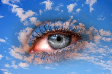 bioengineering: eye in the sky  Stock Photo