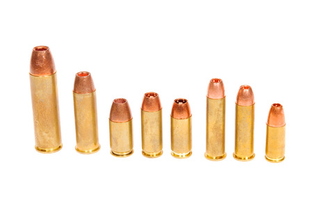 thier: Different types of pistol cartridges from .50 Smith & Wesson for thier revolver down to 9mm for both semi-auto and revolver