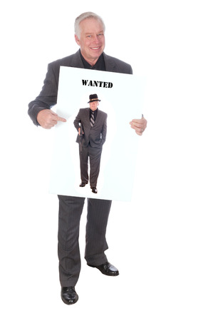 Businessman holding billboard advertising will work for whatever, or selling a product billboard Stock Photo