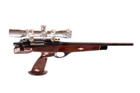 caliber: Interesting modern looking bolt action pistol in .223 caliber Stock Photo