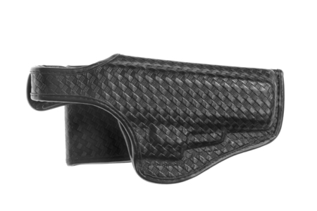 holster: Black leather holster with stamped decoration, isolated over white