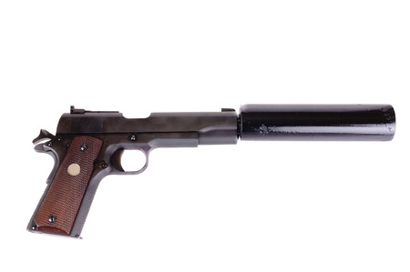 45 ACP with a silencer attached, the weapon of choice of a hit man, isolated over white