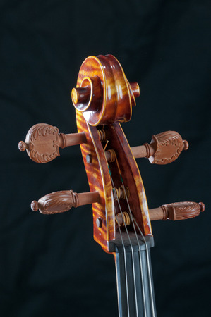 workmanship: Close-up of the head or tuning workmanship on a beautiful cello