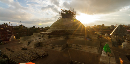 KATHMANDU, NEPAL - 9232015: Bouddhanath Stupa under renovation after the 2015 earthquake in Kathmandu, Nepal.